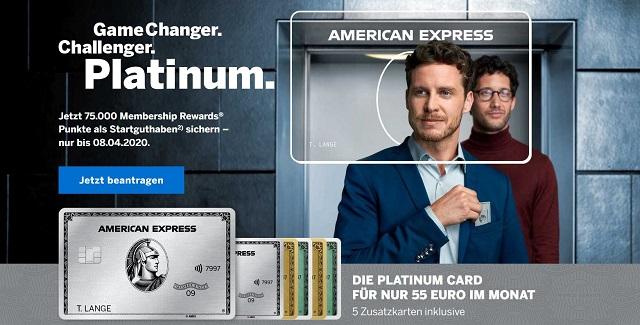 Jetzt American Express Platinum Card mit 75.000 Punkte beantragen