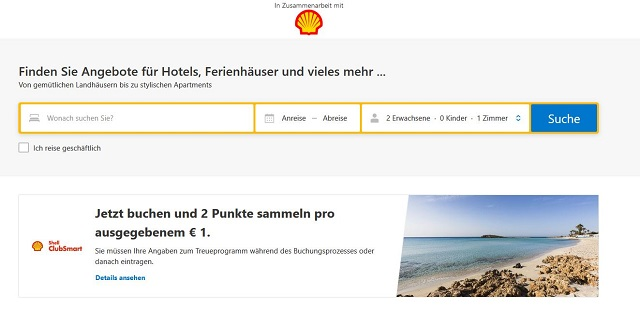 Meilen sammeln mit Shell - Bei Booking.com gehts