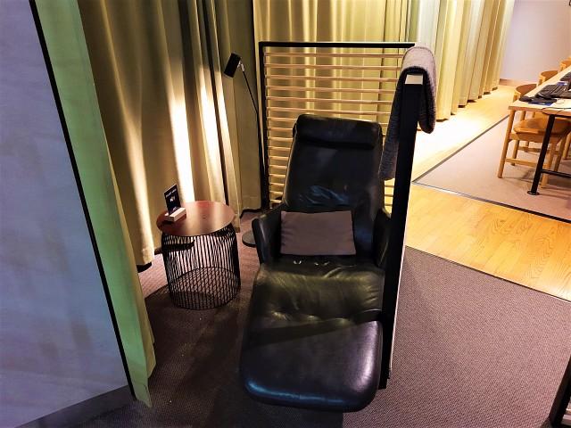 Sessel im Ruhebereich der SAS Gold Lounge Oslo