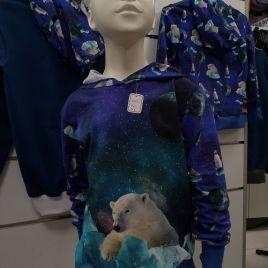 sweat bleu  à capuche motif ours polaire