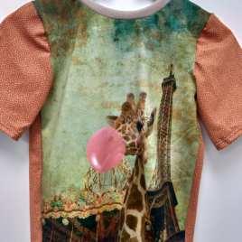 T-shirt animaux et monument, chat, girafe, perroquet, Paris, Londres, Venise