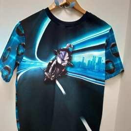 T-shirt  moto ,casque motard bleu