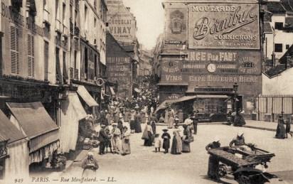 Quartier rue Mouffetard Paris carte postale