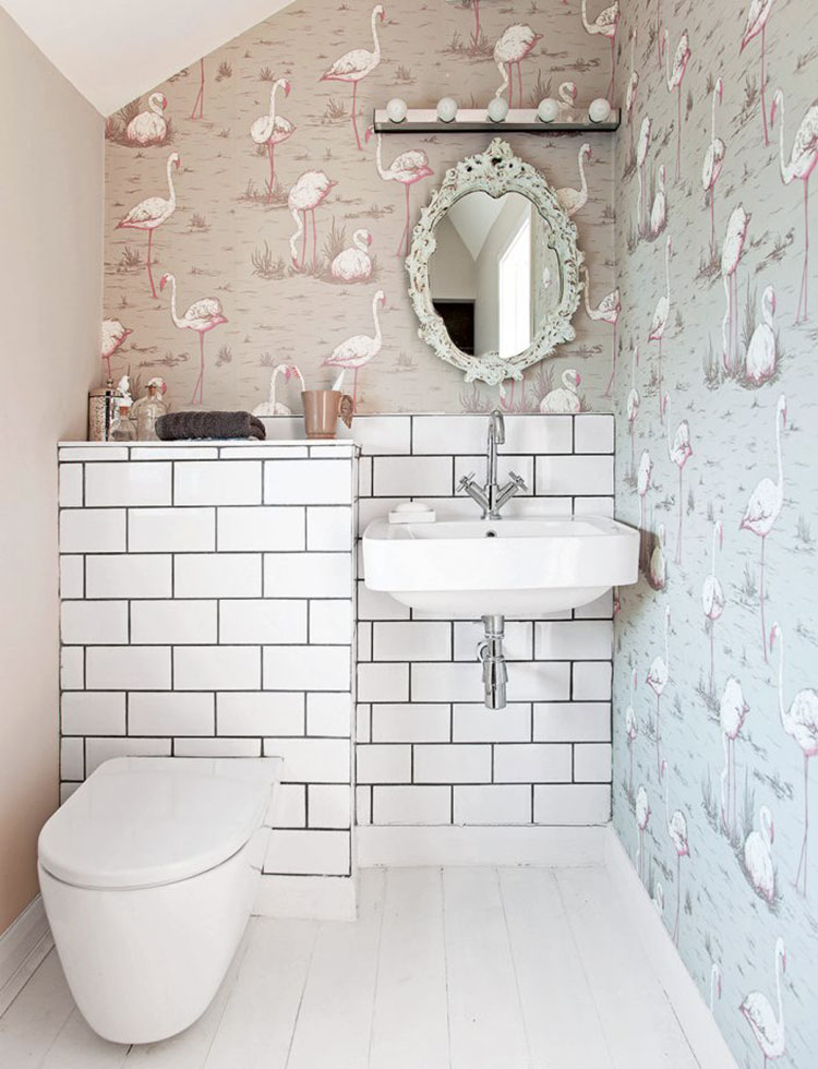 papier peint toilettes flamingos gris et rose cole and son au fil des