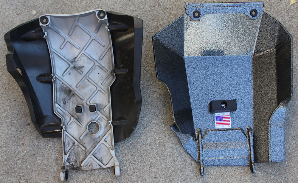 comparison of the stock skid plate and the black dog skid plate