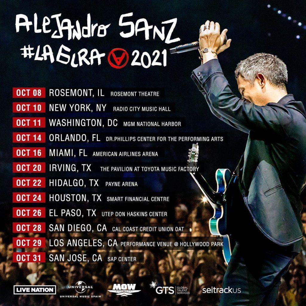 Fechas y ciudades conciertos Alejandro Sanz Estados Unidos 2021