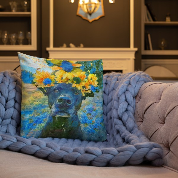 AugiDog Sunflower Throw Pillow