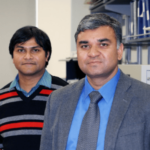 Post doctoral researcher Deepham Maurya, at left, and Shashank Priya, the Robert E. Hord Jr. Professor of Mechanical Engineering , work to find an alternative to lead-based piezoelectric ceramic materials.