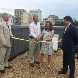 L to R: Chris Beschler, Director, DGS; Keith Tignor, State Apiarist, VDACS; First Lady Dorothy McAuliffe; Sam Towell, Deputy Secretary of Agriculture and Forestry.