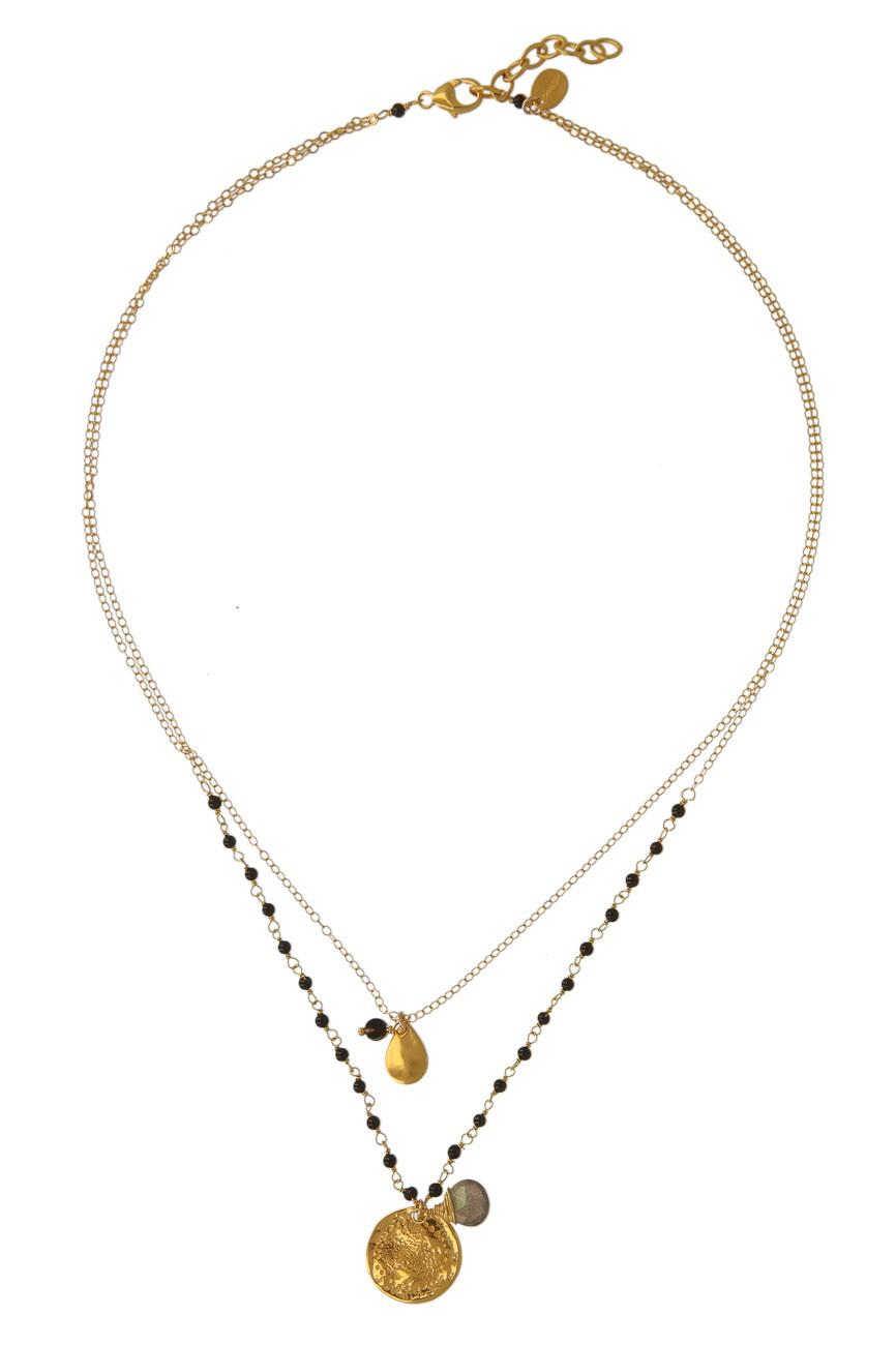 Chan Luu Onyx Weltscheiben Halskette Designerschmuck