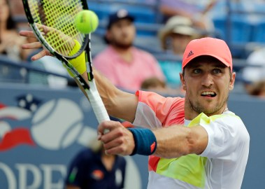 Mischa Zverev, of Germany, returns to Jack Sock, of the United States, at the U.S. Open tennis tournament, Wednesday, Aug. 31, 2016, in New York. (AP Photo/Darron Cummings)