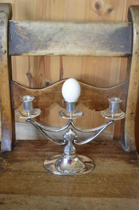Hopeinen 813 kynttilänjalka, paino 400 gr