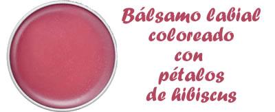 Bálsamo labial coloreado con pétalos de hibiscus