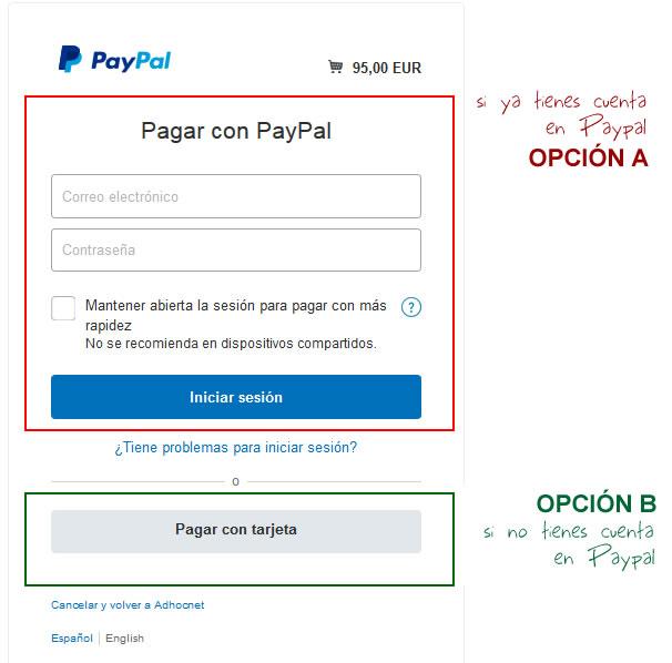 cómo pagar con Paypal