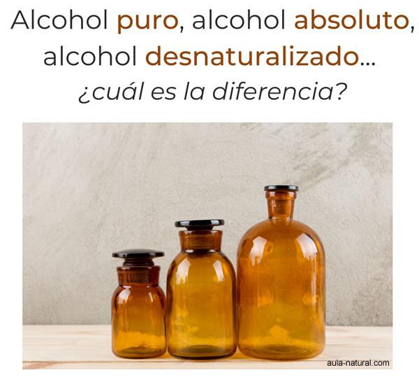 Alcohol puro, alcohol absoluto y alcohol desnaturalizado... ¿son lo mismo?