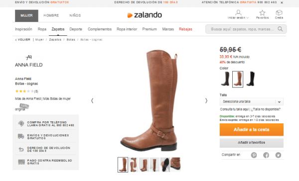 Ejemplo de envío y devolución gratuita en la web de zalando.es