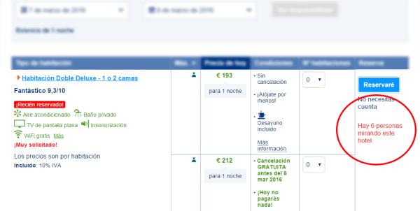 """Ejemplo de Booking.com usando la táctica de """"venta deurgencia"""""""