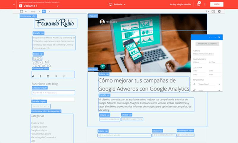experimentos y test a/b con Google Optimize