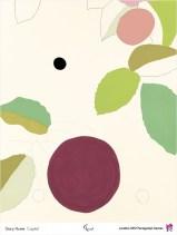 Composición de círculos e follas nunha gama de cores verde e granate.