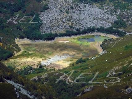 Aspecto de la laguna casi desecada del todo en agosto