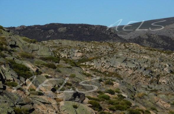Aspecto de la zona quemada en septiembre en el alto del Suelto, visto desde la laguna de Mancas. Se aprecia en las laderas el efecto de incendios pasados que producen erosividad sobre los suelos.