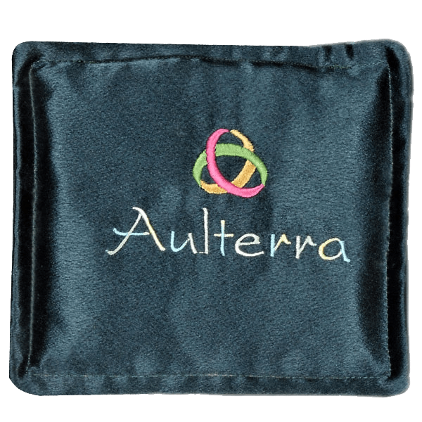 Green pillow with mobius strip and word Aulterra