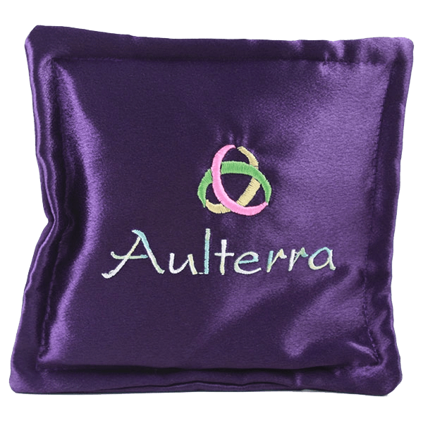 Purple pillow with mobius strip and word Aulterra