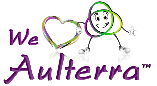word aulterra with a smiling cartoon character and a heart