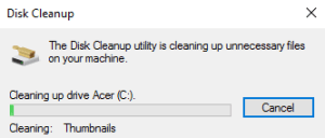 disk cleanup deleting