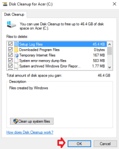disk cleanup select