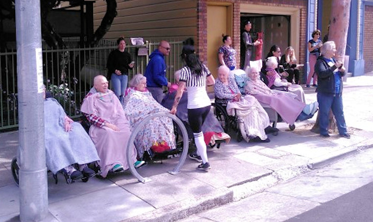 Bare to Breakers 2018 - In front of an old folks home...