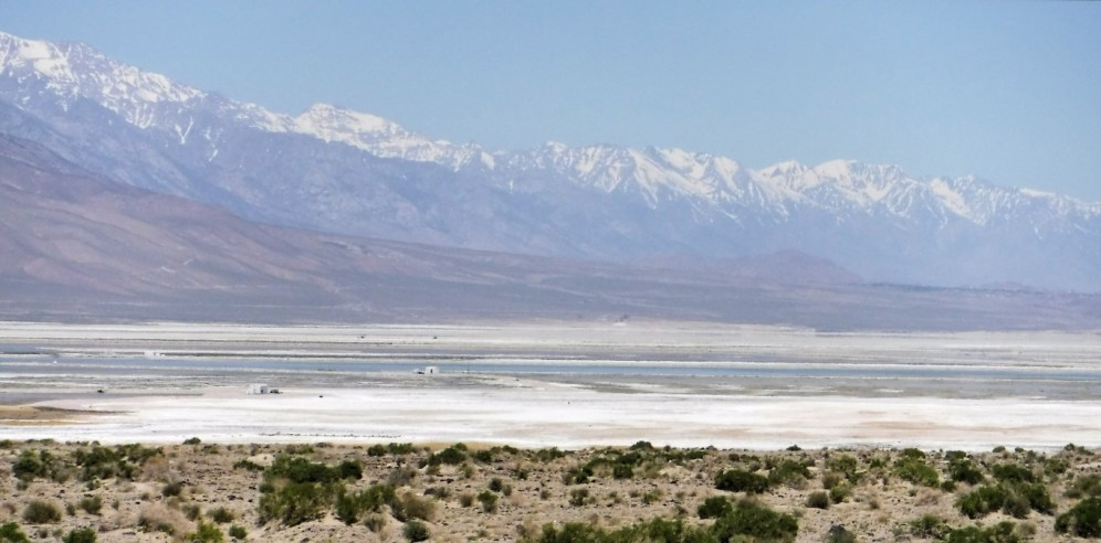 Owens Dry Lake from Hwy 190. Sierras in the background