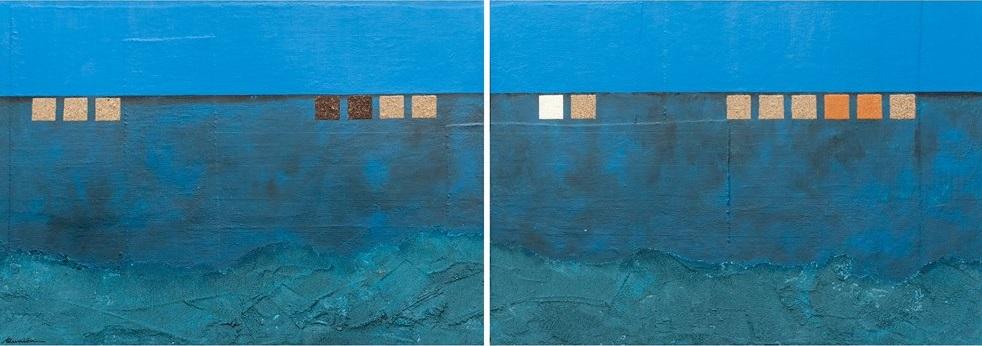 "Aunión ""Horizonte"", 2013. Técnica mixta sobre tabla. 204 X 74 cm."