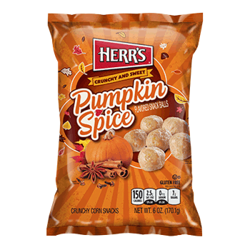 Herr's Pumpkin Spice Snack Balls - 6oz (170.1g) These crunchy corn snack balls are  a little different than your regular cheese balls! These crunchy and sweet snack balls are flavoured with seasonal Pumpkin Spice flavour from Auntie ammie's American Candy Shop