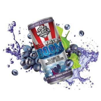 Merica Energy Red White & Boom - Lets Make 'Merica GRAPE Again - 16fl.oz (480ml) from Auntie Ammies American Candy Shop