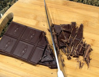 chopping dark chocolate