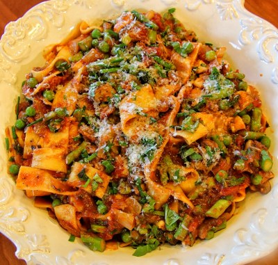 Pappardelle with Spring Vegetable Marinara