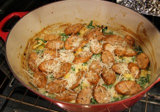 chicken sausage gratin