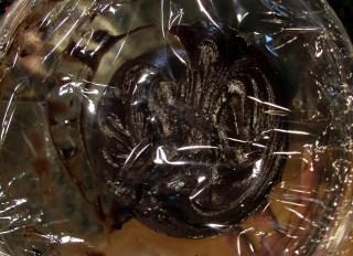 ganache covered in plastic wrap