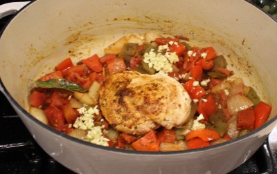 chicken veggies and green Chile sautéing in Dutch oven