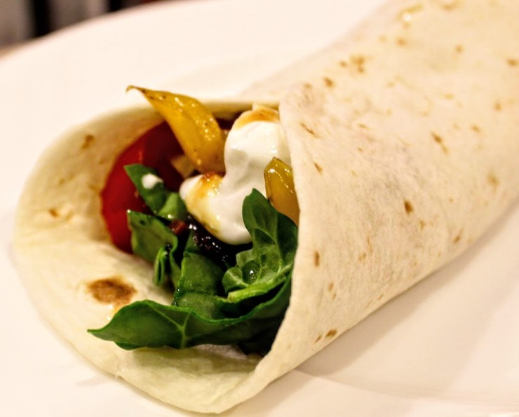 vegetarian burrito with black beans