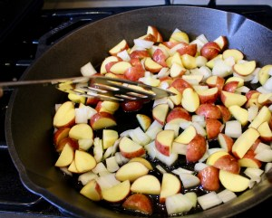 potatoes and onion in cast iron