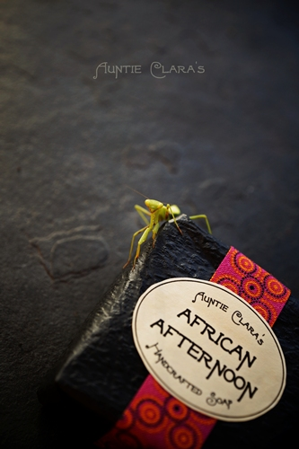 African Afternoon Handcrafted Soap with Praying Mantis by Auntie Clara's