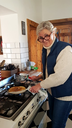 Auntie Clara making pancakes at Langbaken