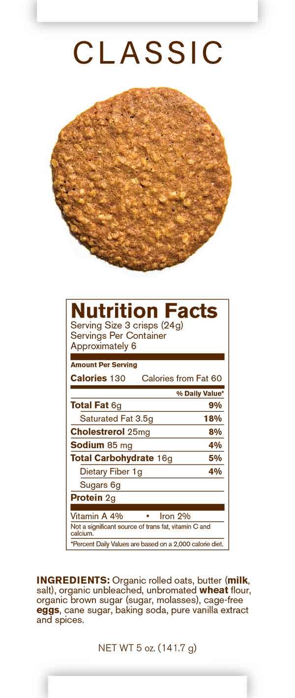 Auntie Elsie's Crisps Classic Oatmeal Cookies Nutrition card 5oz