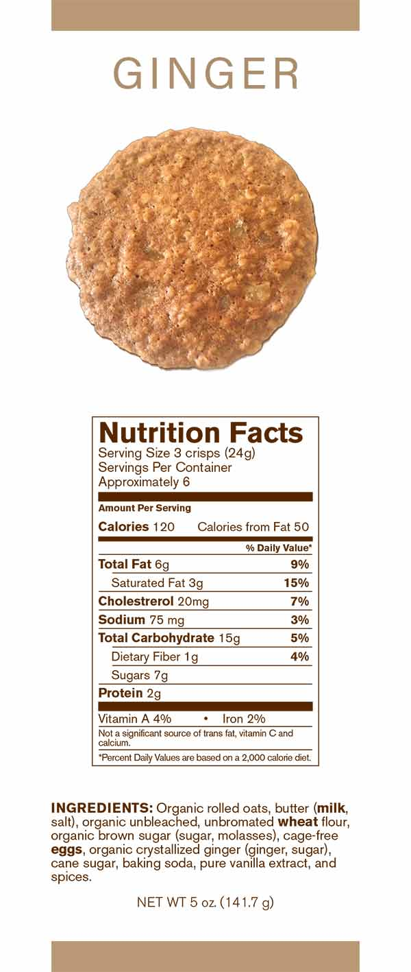 Auntie Elsie's Crisps Ginger Oatmeal Cookies Nutrition card 5oz