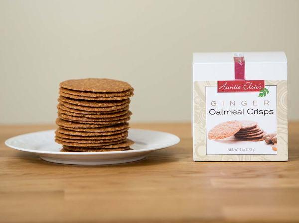 Auntie Elsie's Crisps Ginger Oatmeal Cookies Product Shot