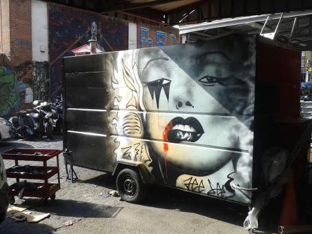 Burger van paint in Hackney, London.