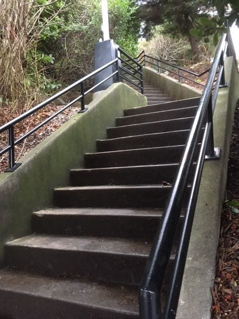 One of the many cement stairways that lead to the beach.