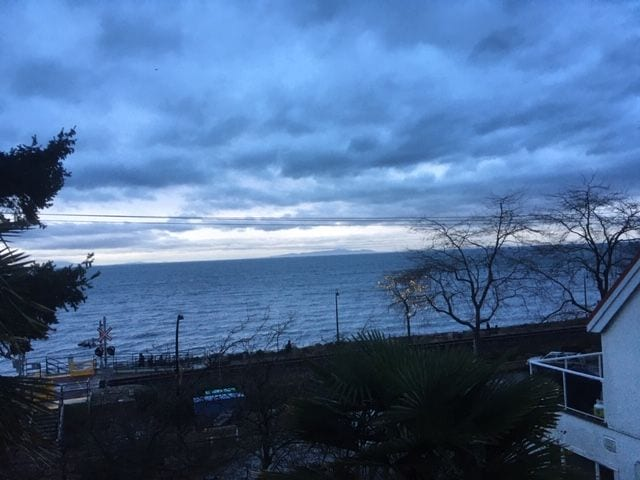 Moody evening sky overlooking the west side of the Promenade and Semiahmoo Bay.